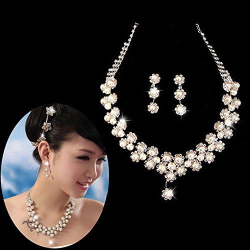 YSTD® Fashion Women Faux Pearl Necklace Earring Set Wedding Bride Bridesmaid Jewelry