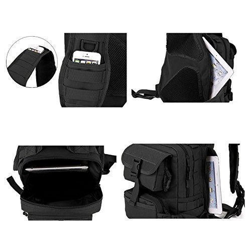 Tactical Schulterrucksack Taktische Tasche Militär Molle Daypack Sport Brusttasche Umhängetasche mit einem Gurt für Camping Reisen Wandern Trekking - Khaki Schwarz