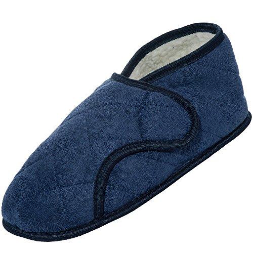 Beneficio Indossare Pantofole Edema Mens Navy Per I Piedi Gonfi-apre Completamente (2 X 14-15)