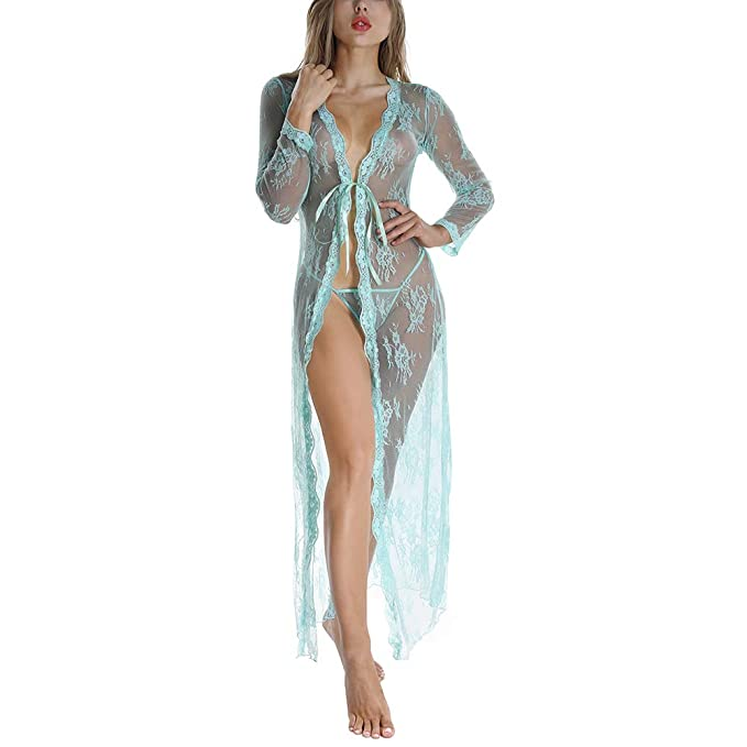 ab44bfd8641 Women s Sexy Kimono Robe Babydoll Lace Lingerie Long Night Dressing See-Through  Nightgown G-