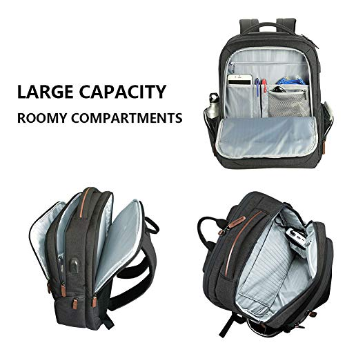 KROSER Laptop Backpack Large Computer Backpack for 15.6-17.3 Inch Laptop with USB Charging Port Water-Repellent School Travel Backpack Casual Daypack for Business/College/Women/Men-Charcoal Black