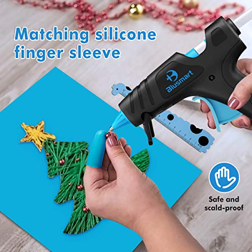 Blusmart Hot Glue Gun, 25W/40W Adjustable Mini Glue Gun Kit with 35 Glue Sticks, Ruler, Silicone Mat, Finger Caps, and Sticker Sheets for Home & School DIY Arts & Craft Kids