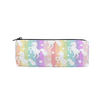 Estuche con diseño de rayas con unicornio para niños y niñas ...