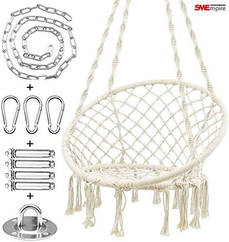 White Macrame swing, Hammock Chair, Hanging Chair Swing with Hardware Kit, Indoor Macrame Swing Chairs, chair for Bedroom, Patio, with chair hanging kit, Perfect Choice for Gift Cushion Not Included
