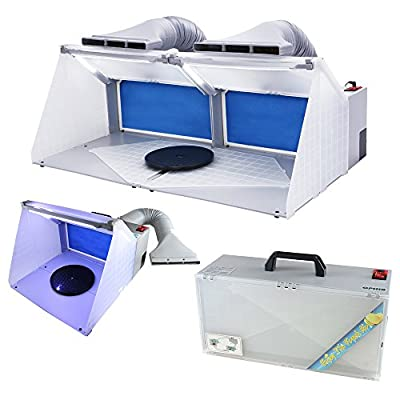 OPHIR 2 Sets of Airbrush Spray Booth Kit with LED Lighting Filter Portable Paint Spray Booth for Model Hobby,Crafts,Nails,Cake,T-shirt (2)