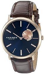 Akribos XXIV Men's AK848RGBU Blue Dial Rose Gold and Brown Leather Strap Watch