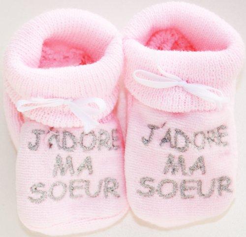 """Pantofole Bambino ricamati """"Amo Mia Sorella Happy Baby Rosa/Argento 0/3mois"""
