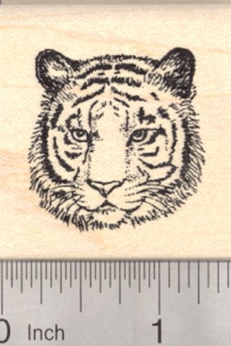 Tiger Face Rubber Stamp, Small