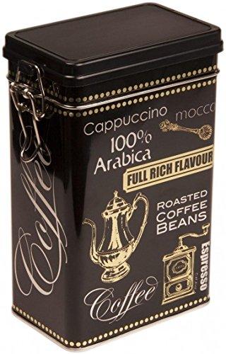 Colore: Nero, Caffè ARABICA, stile Vintage, in scatola di latta per caffè/tè con contenitore-contenitore ermeticamente chiusi Buzz