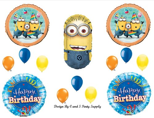 DESPICABLE ME 2 MINIONS BLUE STREAMERS Happy Birthday PARTY Balloons Decorations Supplies ()