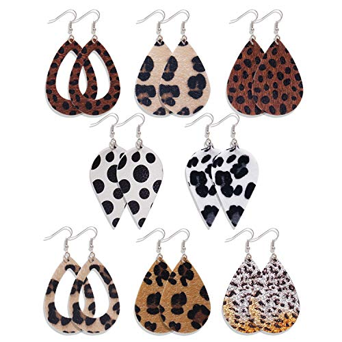 8 Pairs Leather Earrings Lightweight Faux Leather Teardrop Dangle Earring for Women Girls
