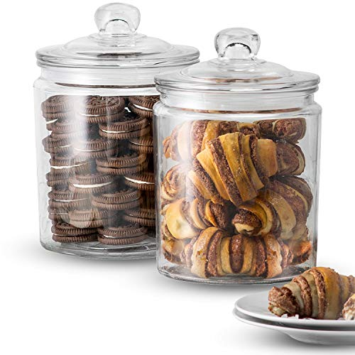 KooK Glass Storage Canister, Clear Jar, With Clear Glass Lid- 1/2 Gallon (Set of 2) (Cookie Jars Set)