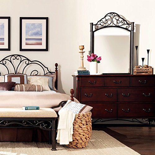 Antique Vintage Style Cherry Wood and Metal Dresser with Mirror Chest of Drawers Dark Bronze Armoir Hutch Victorian Bathroom Cabinet for Clothing Storage Organization Matching Bed Frame Sold Separatly by Tribecca Home