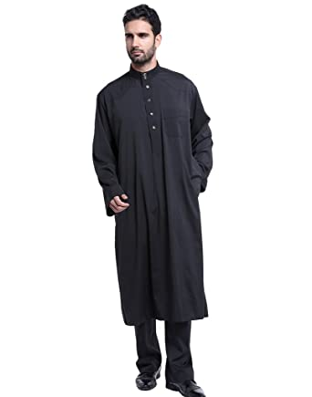 12fdd44cad54 GladThink Men s Thobe with Long Sleeves Arab Muslim Wear Calf Length Black S