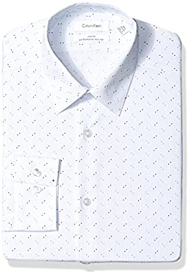 Calvin Klein Men's Dress Shirts Non Iron Slim Fit Stretch Dot Stripe