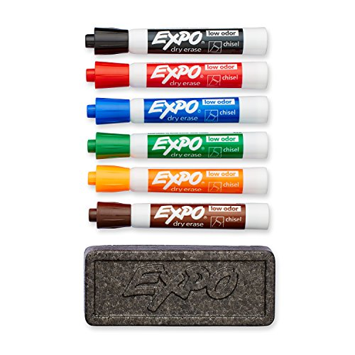 EXPO 80556 Low-Odor Dry Erase Set, Chisel Tip, Assorted Colors, - Dry Board Kit Erase