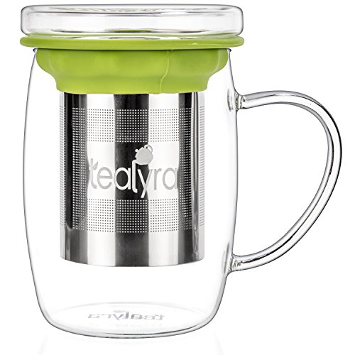 Tealyra - perfecTEA - Infuser Tea Cup - 15.2-ounce - Borosilicate Glass Tea Cup with Lid and Stainless Steel Infuser Basket - Perfect Mug for Office and Home Uses Loose Leaf Tea Steeping - 450ml