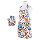 Neoviva Cotton Canvas Kitchen Linen Set for Kid Boys, Pack of 2, Including Kitchen Apron and Oven Mitts, Zoo Letters