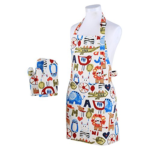 Zoo Mitt - Neoviva Cotton Canvas Kitchen Linen Set for Kid Boys, Pack of 2, Including Kitchen Apron and Oven Mitts, Zoo Letters