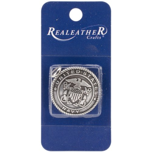 Realeather Crafts Concho US Navy Embellishment, 1.25-Inch, Antique Silver (Custom Conchos)