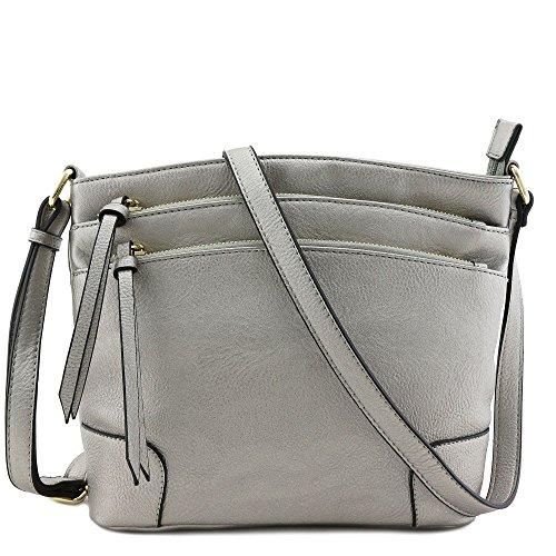 Triple Zipper Pocket Medium Crossbody Bag Light Pewter (metallic silver) (Metallic Multi Strap)