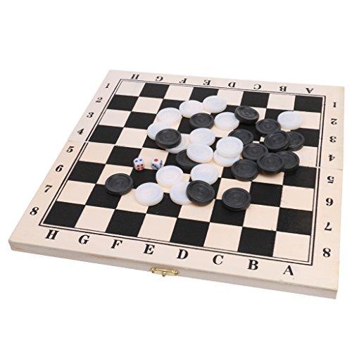SunniMix 西洋碁 ドラフツ チェッカー 折り畳み式 64フィールド  木製 ゲーム  正方形 国際 箱付き ボード ギフト