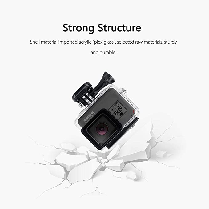 OOOUSE Waterproof Housing Shell for GoPro Hero7 Silver/White, 147ft Underwater Diving Case Transparent Acrylic Protective Cover for Gopro Hero 7 ...