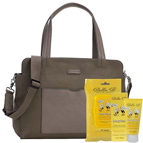 Bundle -3 Items:Storksak Juliette Diaper Bag - Moss & Bella B Honey Bum 2 oz & Bella B Babywipes 50 count ()