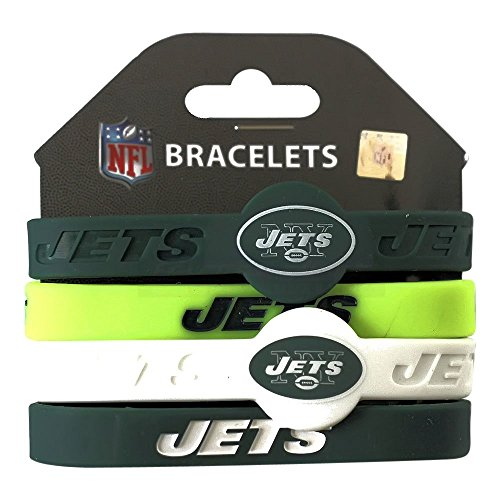 aminco NFL New York Jets Silicone Bracelets, 4-Pack