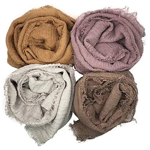 (MANSHU 4PCS Women Soft Cotton Hemp Scarf Shawl Long Scarves, Scarf and Wrap, Fancy Stylish Hijab, Big Head Scarves.)