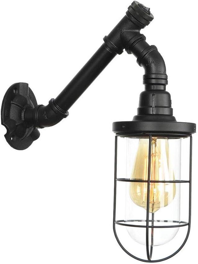 Ático Lámpara de pared de tubo de hierro forjado retro, aro de imitación industrial Jaula de pájaros Lámpara de pared de vidrio a prueba de explosiones Con interruptor Manual Viento industrial Lámpara