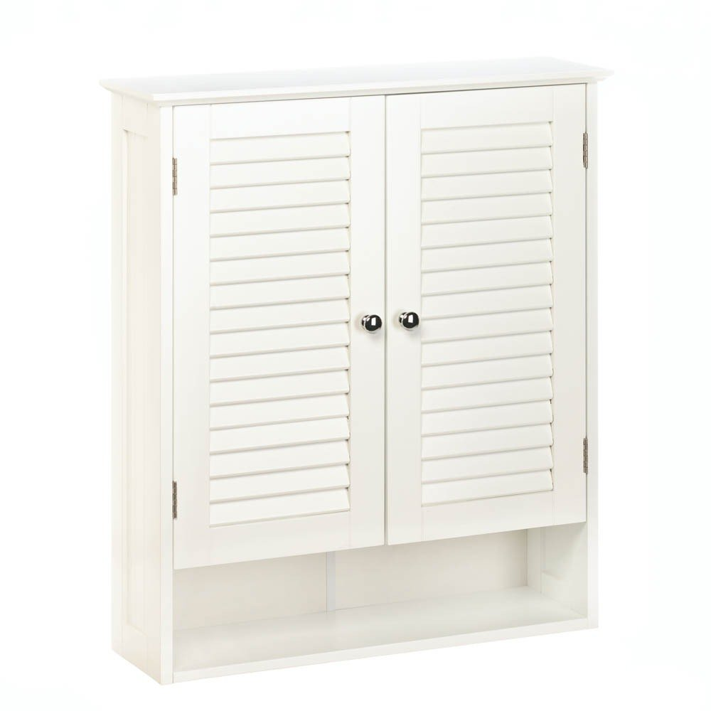 Bathroom Wall Cabinets, White Wooden Shuttered Door Nantucket Wall Cabinet