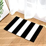 NYMB Graphics Art Print Decor, Black and White Grunge Stripe Bath Rugs, Non-Slip Doormat Floor Entryways Indoor Front Door Mat, Kids Bath Mat, 15.7x23.6in, Bathroom Accessories