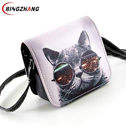 Amazon.com: Bolsa Bolsos Carteras Women PU Leather Cat Wearing Big Glasses Print Shoulder Handbags 2017 Small Messenger Bag L4-1186: Kitchen & Dining