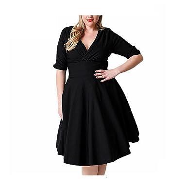 Janlyy Women s Plus Size Skater Dresses Elegant Half Sleeve v Neck Knee  Length Summer Retro High 3ac3eceb9