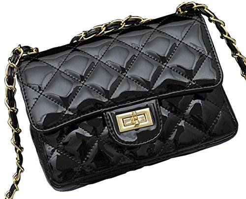 Patent Leather Hobo Large (Covelin Women's Leather Fashion Handbag Quilting Envelope Cross Body Shoulder Bag Bright Black)