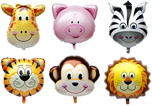 Langxun 6 Pcs Jungle Animals / Farm Animals Ballons for Kids Birthday Party Decorations / Birthday Party Supplies - Lion, Tiger, Monkey, Zebra, Pig, - Sweet Shirt Pony