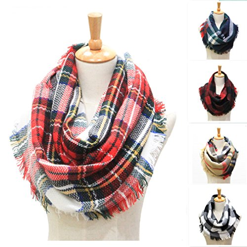 (Winter Women Plaid Infinity Scarf,Fashion Tassel Soft Circle Loop Scarves for Women (red 1))