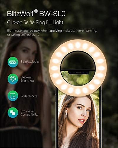 Selfie Ring Light, BlitzWolf Selfie Light with 40 LED & 4 Lighting Modes Rechargeable Clip on Circle LED Light Portable Circle Light for Phone Laptop iPad Photography Video Makeup (Black) 51onisGDYdL