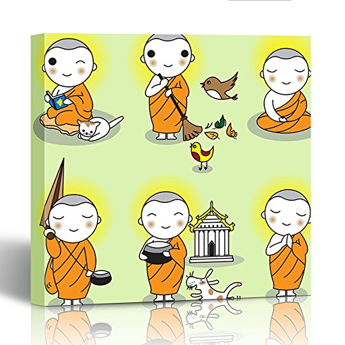 Emvency Painting Canvas Print Square 12x12 Inches Orange Cartoon Buddhist Thai Monk Characters Buddha Buddhism Cute Happy Asian Wall Art Decoration Wrapped Wooden Frame by Emvency