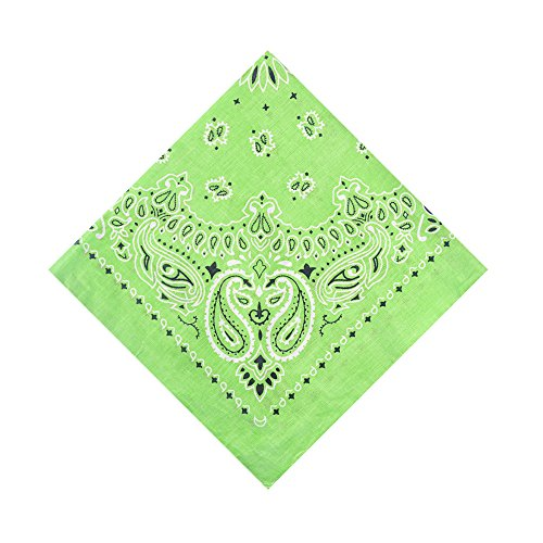 Alotpower 12 Pack Cotton Bandanas Wreath Bandana Headband,Lime