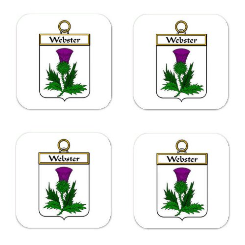 (Webster Family Crest Square Coasters Coat of Arms Coasters - Set of 4)