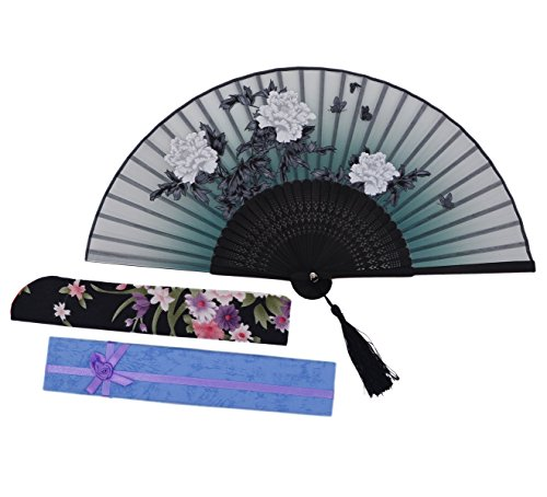 8.27 (21CM) Charming Elegant Modern Woman Handmade Bamboo Silk Folding Pocket Purse Hand Fan NQE LH (NQE-13)