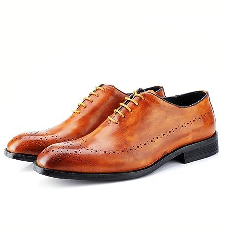 Oxford Hombre 2018, Zapatos Oxford de negocios para hombres, zapatos de cuero de estilo británico con detalle de correa de talla original de cuero genuino ...