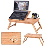 vented laptop tray - Safstar Portable Foldable Laptop Computer Desk Adjustable Vented Notebook PC Table (Bamboo)