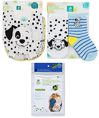 101 Dogs Bib & Sock Set for Baby 2-Pack Disney Blue Sock Set with Dalmatian characters for Baby Soft Super Cute Matching Collection 2 Best of Friends baby bibs and 2 pairs of socks Patch & Lucky