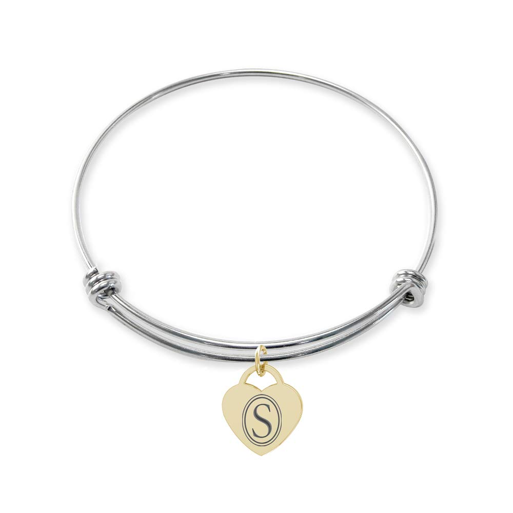 College Jewelry Southeastern Louisiana Lions Stainless Steel Adjustable Bangle Bracelet with Yellow Gold Plated Heart Charm