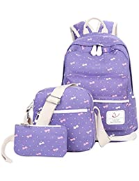 15782bc62dd5 Polka Dot 3pcs Kids Book Bag School Backpack Handbag Purse Girls Teen