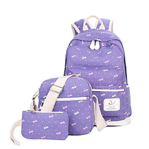 Moonwind Polka Dot 3pcs Kids Book Bag School Backpack Handbag Purse Girls Teen (Bowknot Pattern(824#)-Purple)