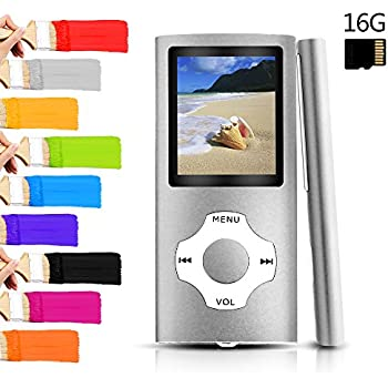 Tomameri - Portable MP3 / MP4 Player with Rhombic Button, Including a 16 GB Micro SD Card and Support up to 32GB, Compact Music & Video Player, Photo Viewer, Video and Voice Recorder Supported -Silver